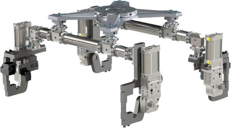 Garra robótica con brazos neumáticos